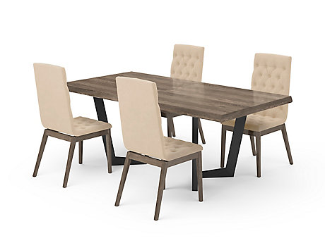 Marcello Extending Dining Table & Light Brown High Top Button Chairs