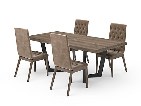 Marcello Extending Dining Table & Taupe High Top Button Chairs