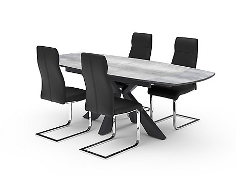 Oretta Extending Dining Table & Black Capri Chairs