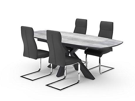 Oretta Extending Dining Table & Grey Novara Chairs