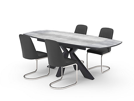 Oretta Extending Dining Table & Grey Torano Chairs