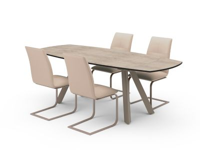 Marlow Extending Dining Table & Taupe Marlow Chairs