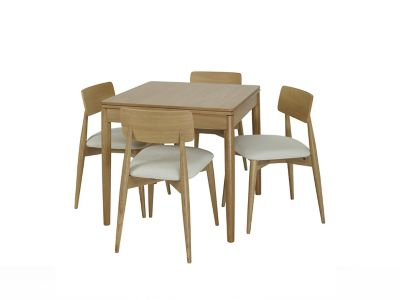 Askett Flip Extending Dining Table and Askett Low Back Dining Chairs