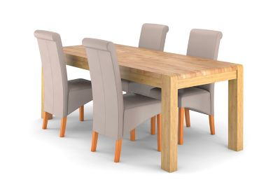 Edson Extending Dining Table & Taupe Jessy Chairs