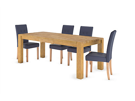 Edson Extending Dining Table & Grey Pu Amy Chairs