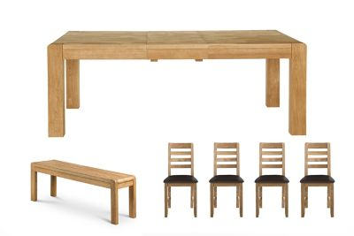 Edson Extending Dining Table & 1 Bench & Brown Pu Edson Chairs