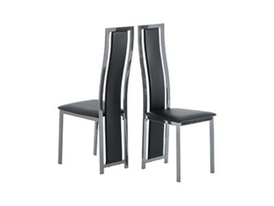 Noir Fully Upholstered Leather Effect Chairs (Pair)