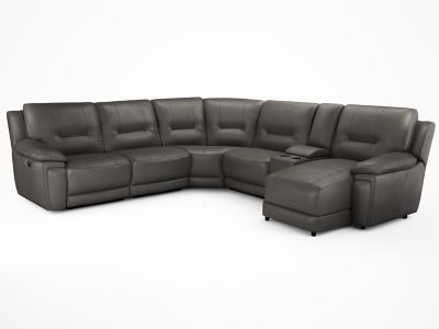 Right Hand Corner Electric Recliner Group With Media Tray