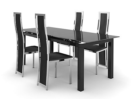 black dining room furniture sets. noir extending dining table \u0026 4 black/chrome upholstered chairs black room furniture sets