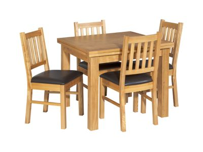 Square Extending Dining Table 4 Wooden Chairs Brown Seat Pad