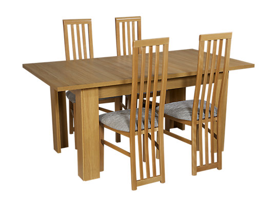 Hampshire Large Extending Dining Table 4 Tall Wooden Chairs